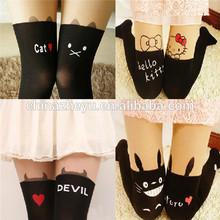 Seamless Stitching Of Cat Printed Stockings 2014