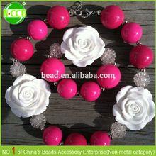 Hot Pink White Big Rose Chunky Bubblegum Bead Necklace