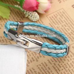 Wholesale Football Cup Argentina Bracelet Blue in White Leather Bracelet Mementos