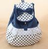 2014 New Design Summer In Stock Bowknot Canvas Lovely Backpack Bag School Bag Canvas Knapsack Rucksack for Girls MOQ 10pcs