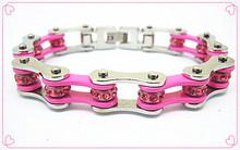 Pink color rhinestone chain link bracelets Stainless steel jewlery