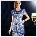 Personalizadas 2014 de calidad superior del nuevo diseño de impresión digital 100% vestidos de satén de seda