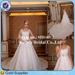 romantic wedding spaghetti lace straps and beading stone appliqued wedding dresses big train tail