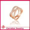 Fashion plaza 18k gold finish triple row cubic zirconia crossover ring