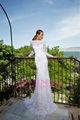 nueva moda elegante de alta calidad de manga larga vaina de la longitud del piso alto cuello de encaje apliques islámica musulmana vestido de novia árabe
