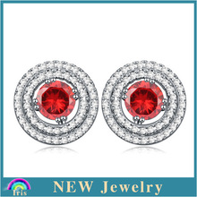 High quality nice round design bali indonesia jewelry silver stud earrings for woman silver plated ruby zircon earring PE2384