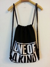 ONE OFF Black cotton drawstring bags with logo custom made