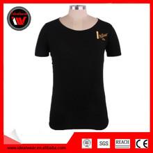 fashion design printing round neck men black cotton t shirts