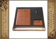 3 In 1 Leather Notebook, Card Holder And Leather Pen Set
