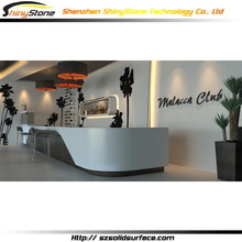 Italian Design Glossy White/Black Corian Solid Surface club Wine Bar counter