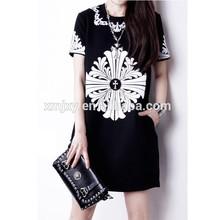 cotton women's medium-long length short sleeve O-neck print t shirts women clothing