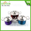 6pcs colorful stainless steel first horse cookware set/milk boiling pot/kitchen cooking ware