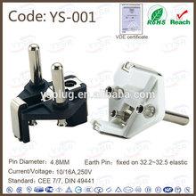 vde power plug ( Three Pole plug bridge , 4.8MM 2 pin din plug )