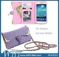 Long Chain Handbag Pouch Case Leather Flip Case for Samsung Galaxy S4 mini i9190 Handbag Case