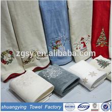Christmas Snow Man Embroidery 100% Cotton necessities bath textiles