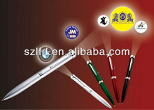 promotional pen with logo projector,multi colored highlighter penwith custom comapny logo,led flashlight pen