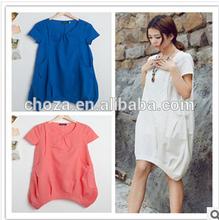 C62761A Maternity summer fashion loose big yard dress for lady