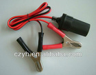 12V alligator clip battery cable with female cigar socket