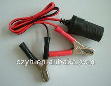 12V alligator clip battery cable with female cigar socket