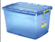 Large size plastic storage box with wheel and lids