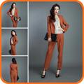 2014 nuevo diseño larga de color marrón de algodón de moda moderna mujer trajes de negocios