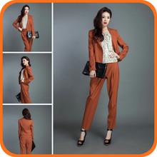 2014 New Design Brown Long Fashion Cotton Modern Women Business Suits