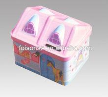 charming house shape coin tin box/ tin coin bank/ coin container