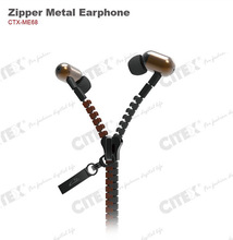 2014 innovative item zipper cable high quality sound earbuds for car manufacturer promotional