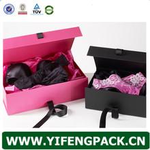 delicate eco-friendly ribbon closure bra and underwear storage box/bra packaging box