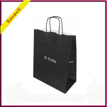 luxury black kraft carry paper bag with twist handle