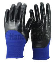 NMSAFETY 13 gauge good grip blue polyester coated black nitrile gloves/working glove half coating