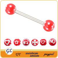 Plastic Flexible Fake Barbell Piercing Industrial Piercings Barbell