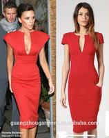 New design Sexy Tea-length Red victoria beckham dress pencil dress 2014 Evening Dress