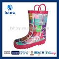 sevimli kulplu renkli yağmur çizmeleri kızlar için