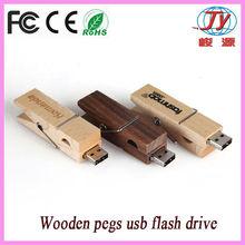 custom wooden usb 4gb/wooden pegs flash drive