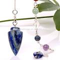 la parte superior de la moda lapis lazuli punto de cristal chakra colgante de la energía de la radiestesia péndulo de venta al por mayor