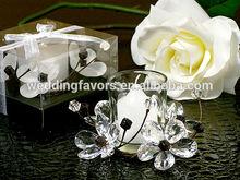 Elegant Black & White Crystal Flower Candle Wedding Favors