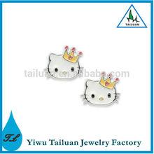 Cute Kitty With Crown Earring Enamel Animal Stud Earring