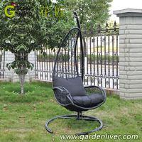 metal rattan swing basket with cushion outdoor metal single seat swing