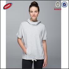 newest hot sale ladies short sleeve plain grey hoodies,sport hoody funnel collar with belt on the waist
