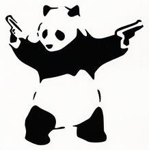 Lovely panda with guns car decals /car window shade sticker/car body sticker