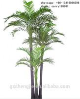 LXY072503 three trunks plastic cheap artificial areca palm tree large bonsai tree
