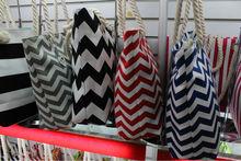 In Stocks Trendy Fashion Rope Handle hot pink and grey chevron bag bolsa de galon saco chevron