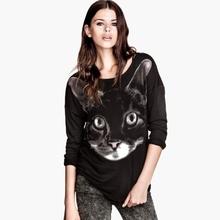M40727B 2014 European fashion autumn cat print loose women knitted shirt