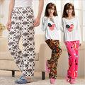novo inverno cartoon flanela casais calças de pijama