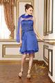 sheer estilo curto mangas mãe de vestido de noite azul laço do vestido de noiva