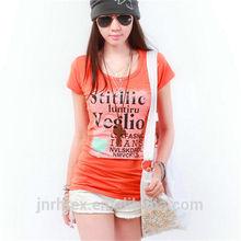 2014 popular 100% cotton lady t shirt