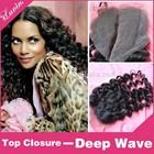 2014 china alibaba china wholesale top closure hair piece, silk top closure, brazilian virgin hair top closure deep wave