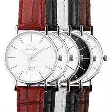 Free Sweetheart Lover Watch Men Women Simple Stlye Big 3 Hand PU Leather Quartz Wrist quartz watch