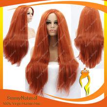 Alibaba Cheap Long Straight Orange Heat Resistant Synthetic Lace Front Kanekalon Wig